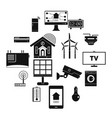 smart home house icons set simple style vector image