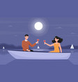 smiling couple on a romantic night date in boat vector image vector image