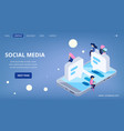 social media landing page virtual communication vector image