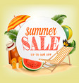 summer sale template banner with colorful beach vector image vector image