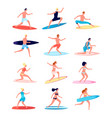 surfers funny people female surfer standing on vector image vector image