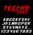 techno font letters and numbers vector image vector image