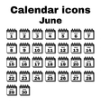The calendar icon June symbol Flat vector image