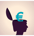 Thinking concept-Human head with euro symbol vector image vector image