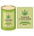 tin can canned hemp and cannabis leaf vector image