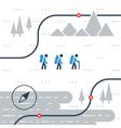 Trail flat icons nordic walking sport orienteering vector image vector image
