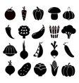 Vegetables silhouettes icons vector image vector image
