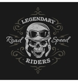 Vintage Biker Skull On a dark background vector image vector image