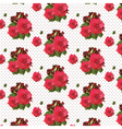 Watercolor Red Rose pattern on lace vector image vector image