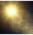 yellow sun with light effects vector image