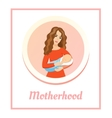 Young beautiful mother holding sleeping baby Love vector image vector image