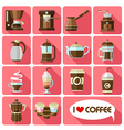 flat icons with long shadow of coffee vector image