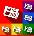 newspaper sign set of icons with flat vector image