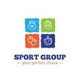 trendy sport equipment shop logo in doodl vector image