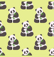 panda seamless pattern bamboo china wild bear vector image