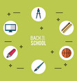 light green background poster of back to school vector image