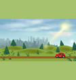 a red car drives through a green hilly field in vector image