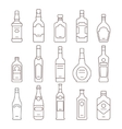 Alcohol drink bottles types of icons set vector image vector image