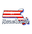 american flag in massachusetts state map grunge vector image vector image
