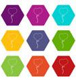 balloon heart icons set 9 vector image