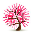 breast cancer care pink hand tree concept for help vector image vector image