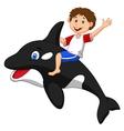 Cartoon boy riding orca vector image