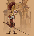 cartoon funny man in a gladiators clothing vector image