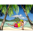 cartoon man in a hammock between palm trees vector image vector image