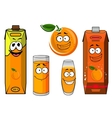 Cartoon orange juice packs with fruit vector image vector image