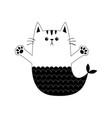 cat mermaid fish tail kitten ready for a hugging vector image