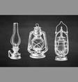chalk sketch kerosene lamps vector image vector image