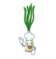 chef cartoon fresh green onions on cutting board vector image vector image