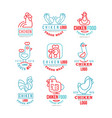 chicken logo set fresh meat premium quality badge vector image