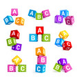 childish alphabetical cubes educational toys vector image vector image