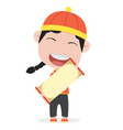 chinese boy with holding a blank sign vector image vector image