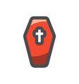 coffin with a cross icon cartoon vector image