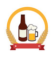 color emblem with beer bottle vector image vector image