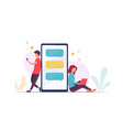 couple using laptop smart phone communicate vector image vector image