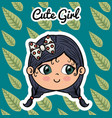 cute girl head character with leafs pattern vector image vector image