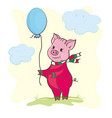 cute piggy with a ball vector image vector image