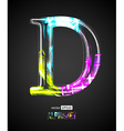 Design Light Effect Alphabet Letter D vector image