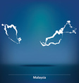 Doodle Map of Malaysia vector image vector image