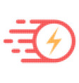 electric spark halftone dotted icon with fast rush vector image