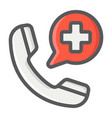 emergency call filled outline icon medicine vector image