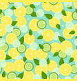 endless texture with pieces lemon slices cucumber vector image