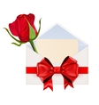 Envelope decorated with red ribbon bow and red vector image vector image