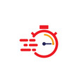 fast time delivery icon stopwatch in motion vector image vector image