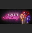 glow greeting card with different form balloons vector image vector image
