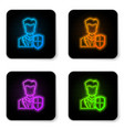 glowing neon user protection icon isolated on vector image vector image