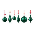 green isolated christmas balls set vector image vector image